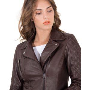 Brown Color Lamb Leather Quilted Jacket Soft Bogotà Vintage Effect