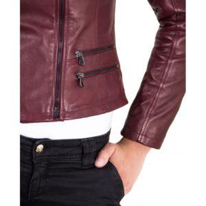 Red Purple Color Lamb Leather Quilted Jacket Soft Bogotà Vintage Effect