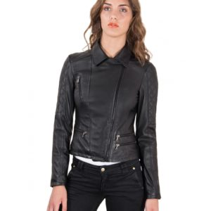 Black Color Lamb Leather Quilted Jacket Soft Nappa Smooth Effect
