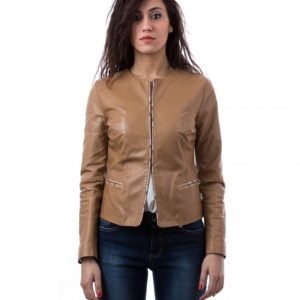 Tan Color Nappa Lamb Leather Short Jacket Smooth Effect