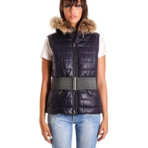 Blue Color Nappa Lamb Leather Sleeveless Hooded Jacket Smooth Effect