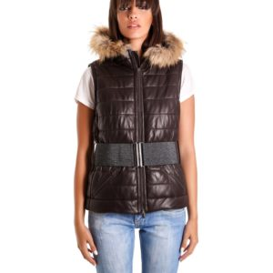 Brown Color Nappa Lamb Leather Sleeveless Hooded Jacket Smooth Effect