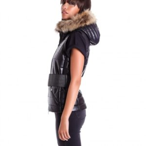 Black Color Nappa Lamb Leather Sleeveless Hooded Jacket Smooth Effect