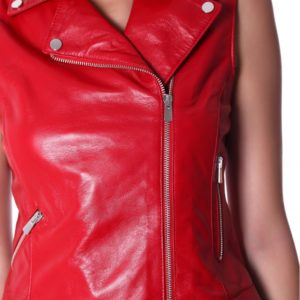 Red Color Nappa Lamb Leather Sleeveless Biker Jacket Smooth Effect