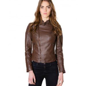 Dark Brown Color Lamb Leather Biker Quilted Jacket Vintage Effect