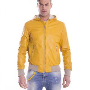 Yellow Lamb Leather Hooded Bomber Jacket