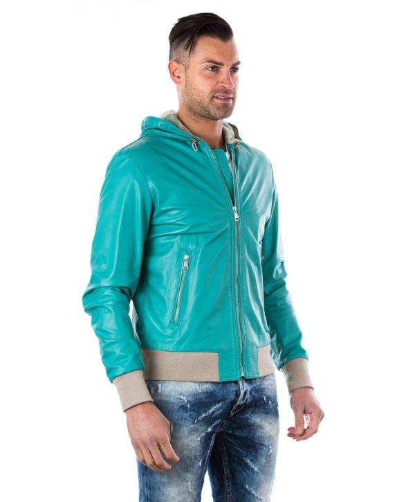 giubbottGreen Lamb Leather Hooded Bomber Jacketo-in-pelle-da-uomo-con-cappuccio-e-fodera-traforata-colore-verde-biancolino-collezione-uomo-darienzocollezioniit (1)