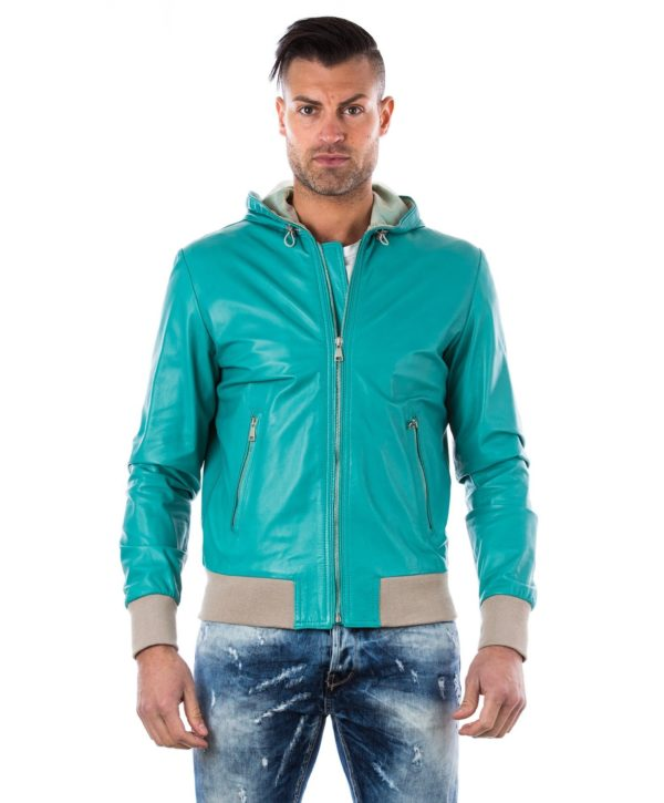 Green Lamb Leather Hooded Bomber Jacket