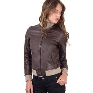Dark Brown Color Lamb Leather bomber Jacket Vintage Effect