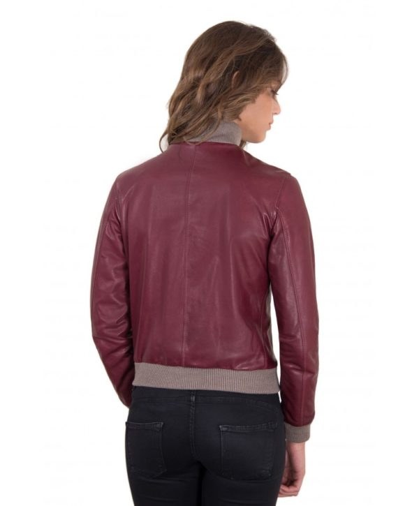 Red Purple Color Lamb Leather Bomber Jacket Vintage Effect
