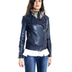 Blue Color Nappa Lamb Leather Biker Jacket Smooth Effect