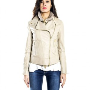 Cream Color Nappa Lamb Leather Biker Jacket Smooth Effect