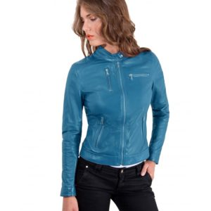 Blue Avion Color Lamb Leather Jacket Biker Smooth Effect