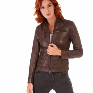 Brown Color Lamb Leather Jacket Biker Vintage Effect
