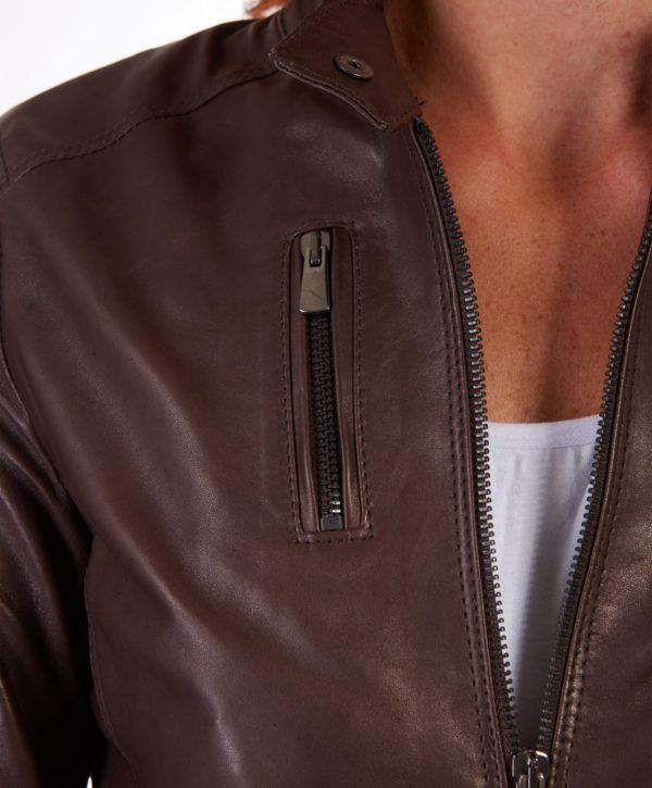 Brown Color Lamb Leather Jacket Biker Vintage Effect