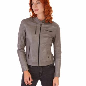Grey Color Lamb Leather Jacket Biker Smooth Effect