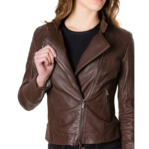 Brown Color Nappa Lamb Quilted Leather Jacket Smooth Effect