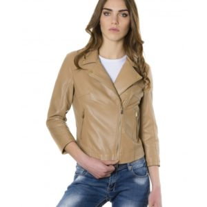 Brown Color Lamb Leather Perfecto Jacket Smooth Effect