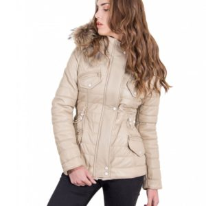 Beige Color Nappa Lamb Leather Fur Hooded Down Jacket Smooth Effect
