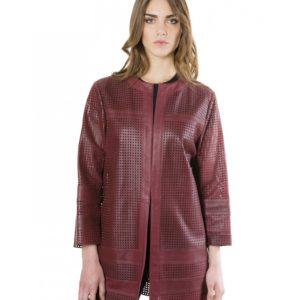 Bordeaux Color Lamb Lasered Leather Jacket