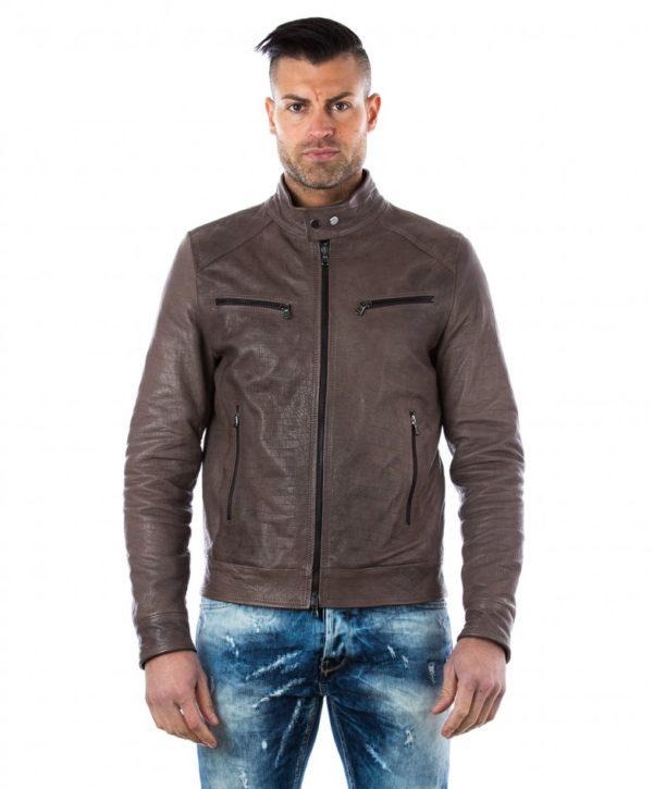 men-s-leather-jacket-genuine-crocodile-effect-soft-leather-biker-style-collar-mao-grey-color-hamilton