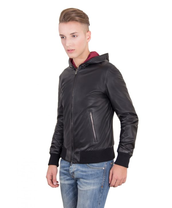 Black Lamb Leather Hooded Bomber Jacket