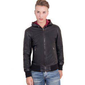 Black Lamb Leather Hooded Bomber Jacket