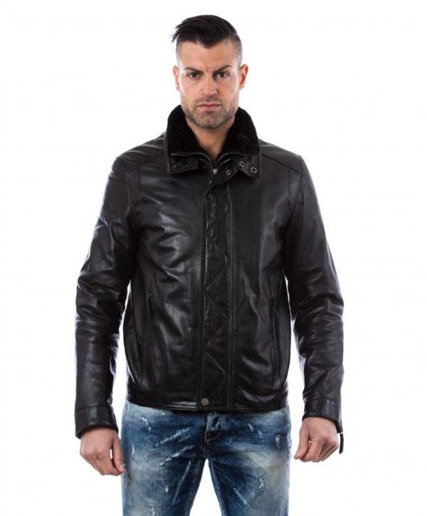 men-s-leather-jacket-mink-fur-collar-central-zip-and-buttons-pockets-regular-fit-davide-black