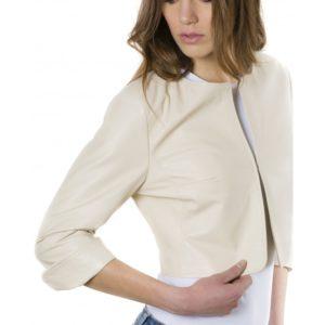 Beige Color Lamb Leather Round Neck Short Jacket