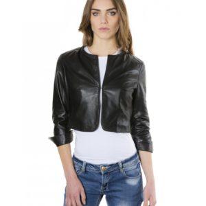 Black Color Lamb Leather Round Neck Short Jacket