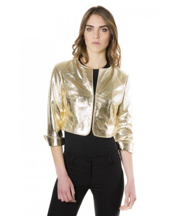Gold Color Laminated Nappa Lamb Leather Round Neck Short Jacket