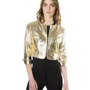 Gold Color Laminated Nappa Lamb Leather Round Neck Short Jacket
