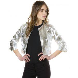 Silver Color Lamb Leather Round Neck Short Jacket