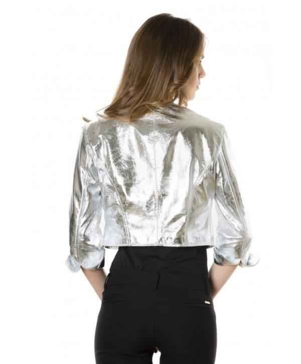 Silver Color Laminated Nappa Lamb Leather Round Neck Short Jacket