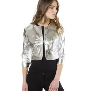 Silver Color Laminated Nappa Lamb Leather Round Neck Short Jacket