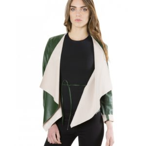 Green Colour Nappa Lamb Leather Jacket Smooth Effect