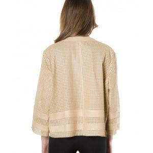 Beige Color Lamb Lasered Leather Jacket