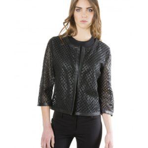 Black Color Lamb Lasered Leather Jacket