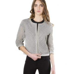 Grey Color Lamb Lasered Leather Jacket