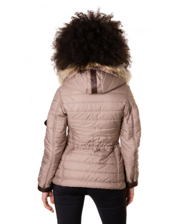 Beige Color Fabric Down Hooded Jacket Lamb Leather