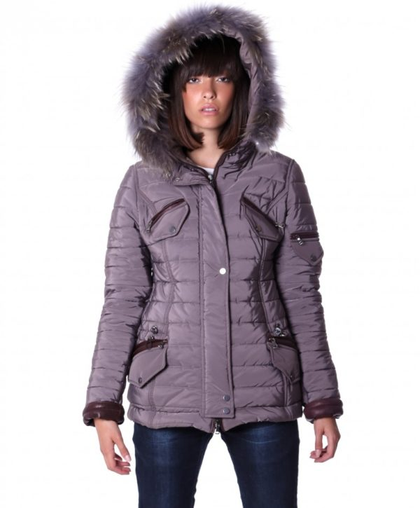 Grey Color Fabric Down Hooded Jacket Lamb Leather