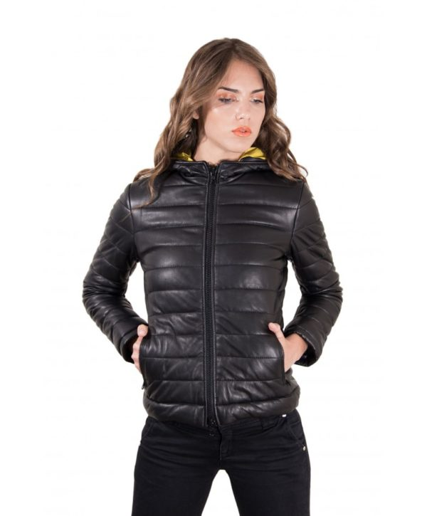 Black Color Nappa Lamb Leather Down Jacket Smooth Effect