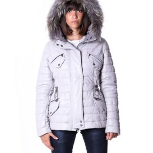 Ice Color Nappa Lamb Leather Fur Hooded Down Jacket Smooth Effect
