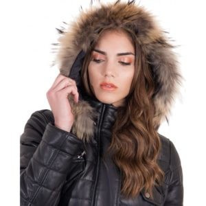 Black Color Nappa Lamb Leather Fur Hooded Down Jacket Smooth Effect