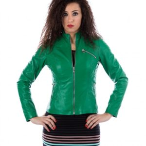 Green Color Lamb Leather Quilted Biker Jacket Smooth Effect